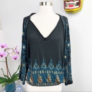 Free People Bohemian Top Icat Print Black Medium